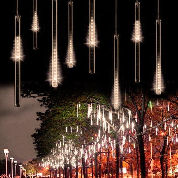 Edison2011 50 CM SMD 2835 Meteor Douche Pluie Tubes De Noël Chaîne Lumière Arbre Décoration 12 V NOUS Plug Vacances Lumière Libre Bateau