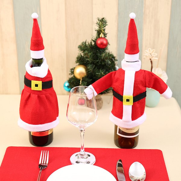 Lovely Christmas Santa Claus Knitting Cloth Ornaments Xmas Wine Bottle Cover Bag Dinner Party Table Decor