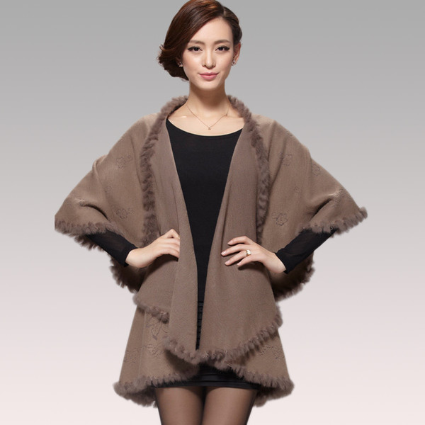 Wholesale-2015 Winter Autumn Women Cardigan Fashion Rabbit Fur Collar Cashmere Cape Poncho Female Knitted Poncho Coat