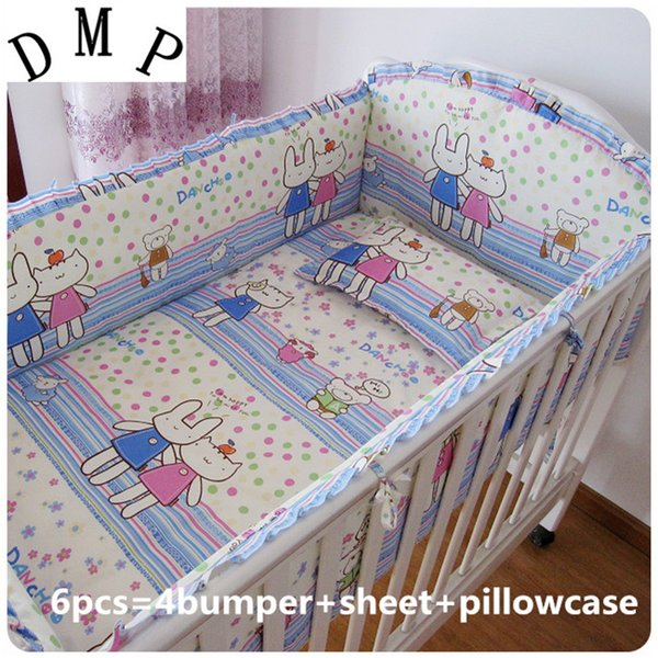 Promotion! 6PCS Cartoon cot bedding baby cradle crib bedding,baby cot sets baby bed ,include(4bumpers+sheet+pillowcase)