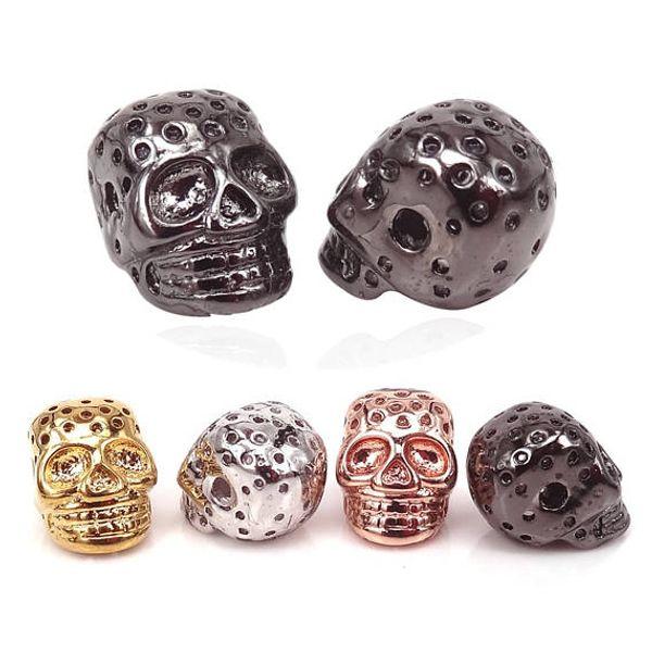 24K Gold Silver Rose Gold Black Skull Head Bead, Goth skull bead, Men Bracelet Skull beads