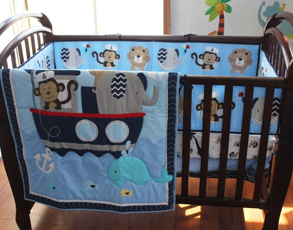Crib bedding set 7Pcs Baby bedding set Embroidery Monkey elephant navigation blue sea whale Cot Bedding set Quilt Bumper Skirt