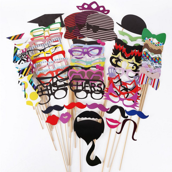 1set 76pcs graduation birthday party Photo Props Moustache Hat Small Eyes Paper Beard Wedding Party Supplies Bachelorette Party Photo Booth
