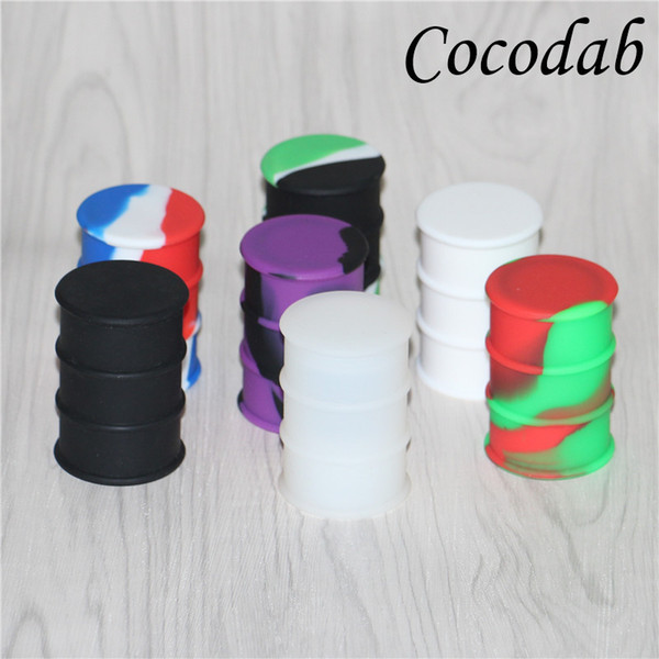 silicone oil barrel container jars dab wax vaporizer oil rubber drum shape container 26ml large food grade silicon dry herb dabber box DHL