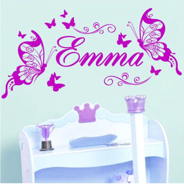 personalised name butterfly wall sticker custom made kids name decal
