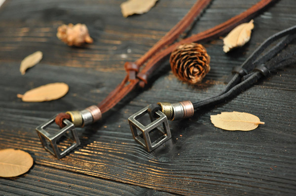100% Genuine Leather Men Necklaces Cross Pendants Punk Vintage Adjustable Brown Black Rope Chain Male Jewelry Mens Jewelery