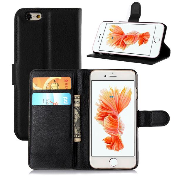 Lichi PU funda de cuero para iPhone 6S 6 Soporte protector con ranura para tarjeta Cubierta del teléfono móvil para iPhone Colorido