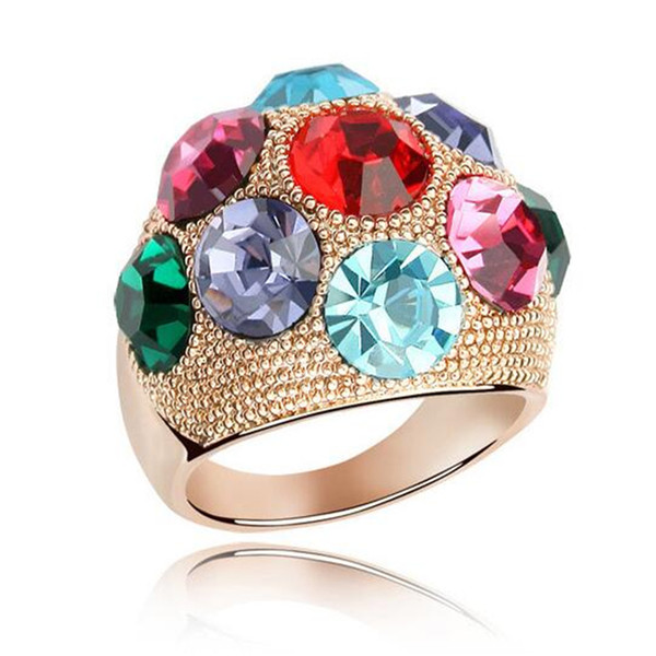 Fashion Luxury Wedding Rings For Women Colourful Crystal from Swarovski Elements 18K Rose Gold Plate Party Rings Decoration Jewelry 4661