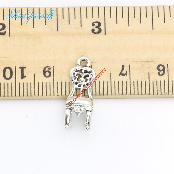 20pcs/lot Antique Silver Plated Chair Charms Pendants for Necklace Jewelry Making DIY Handmade Craft 20x6mm