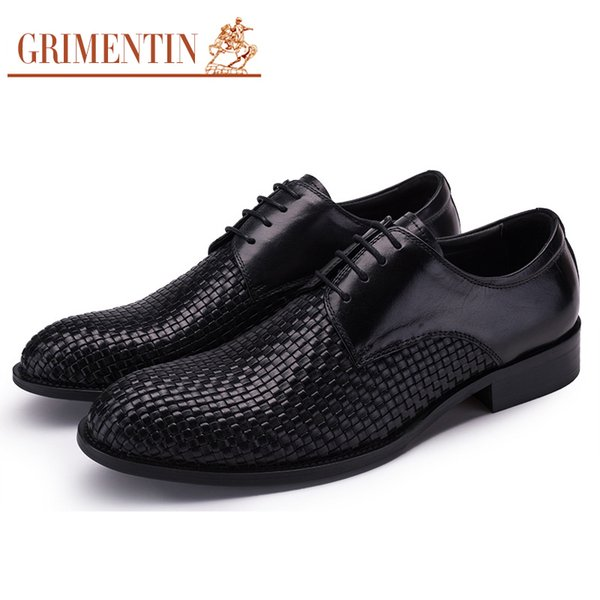 GRIMENTIN Genuine leather mens wedding shoes fashion designer dress men oxford shoes hot sale brand braided formal business male shoes