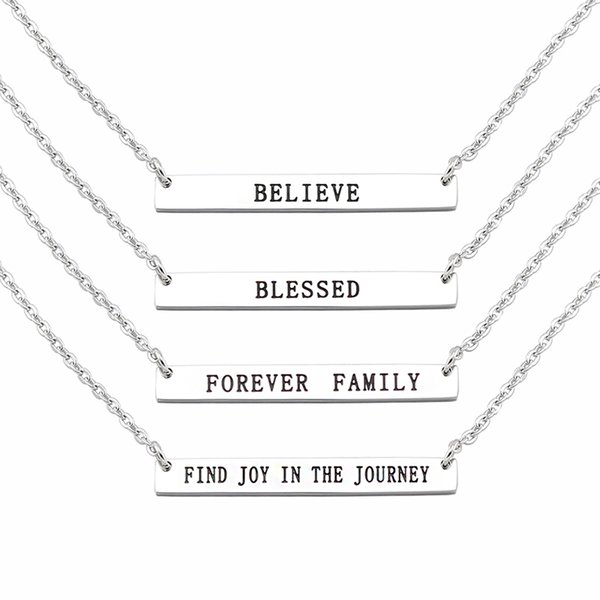 316L Stainless Steel Personalized Curved Mantra Bar Necklace Hand Stamped Necklace Women Jewelry Mathch with 20'' Chain