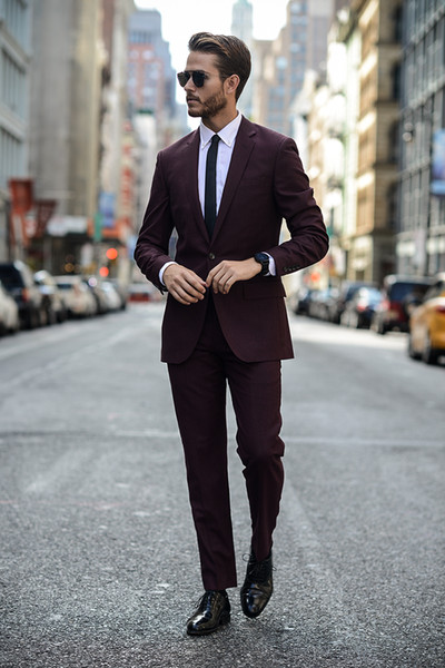 Custom Made Burgundy Two Piece Wedding Tuxedos Slim Fit Cheap Peaked Lapel Mens Office Suit Groom Jacket and Pants