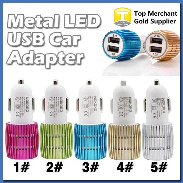 Metal Dual USB Port Car Charger Output 1A and 2.1 Amp for Apple iPhone 6 6s iPad iPod Samsung Moto Nokia Htc