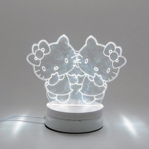 6W Hello Kitty LED Night Light AC220V Input DIY Table Lamp Laser Engraving Multi-Choice Pattern(3-Color/pcs) on Acrylic 3D Creative Light