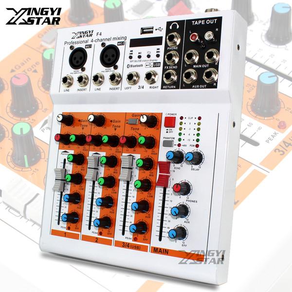 Profissional 4 Canal EQ Mixer de Som DJ Mixer Digital de Áudio Bluetooth USB Entrada de Linha de Música 48 V Phantom Power Amplifier