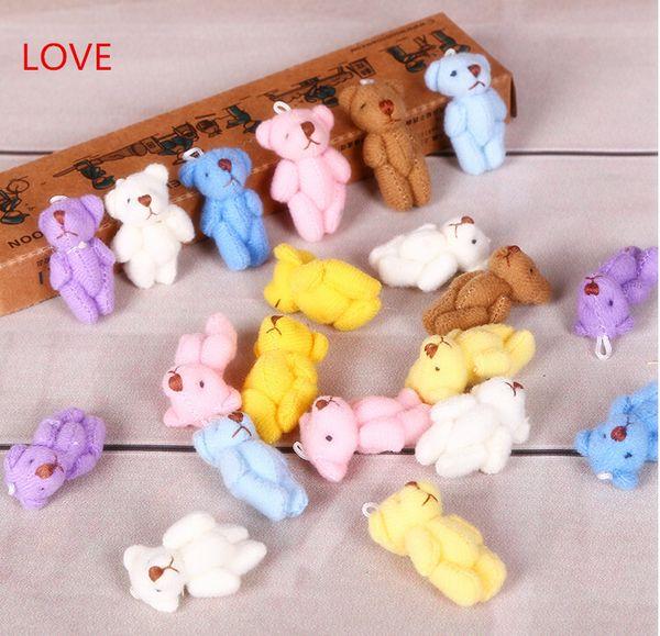 Venta al por mayor-caliente 10PC 4cm Kawaii Mini Joint Bowtie Teddy Bear Plush Kids Toys Stuffed Dolls Regalo de boda para niños envío gratis