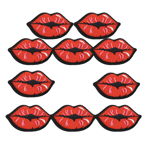 top popular 1 PCS red lips embroidery patches for clothing iron patch for clothes applique sewing accessories badge stickers on clothes iron on patches 2021