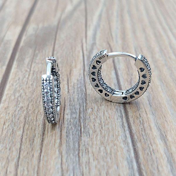 Autentici orecchini in argento sterling 925 con cuori di orecchini a cerchio Pandora adatti per gioielli con borchie stile Pandora europeo 296317CZ