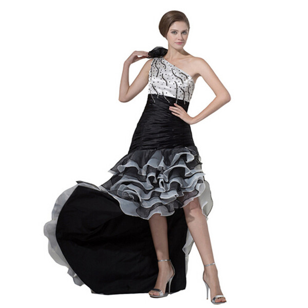 One Shoulder Front Short Back Long Fashion Prom Ladies Dress Ruffle Organza Customized With Beads Long Length Women Gown