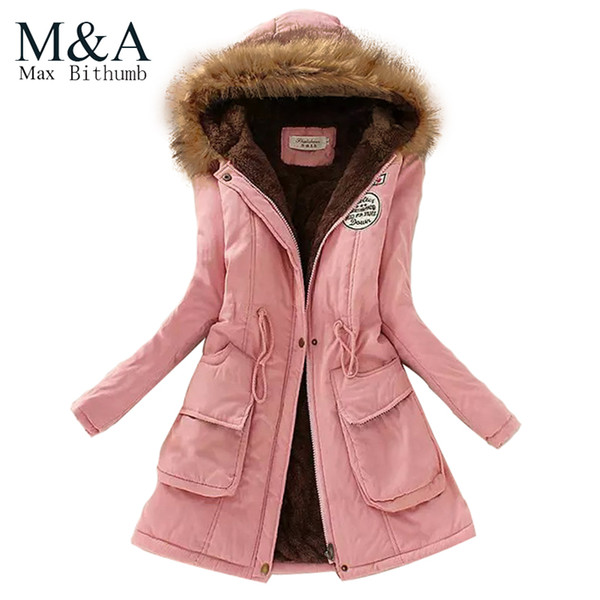 best selling Wholesale-2016 Womens Faux Fur Lined Parka Coats Outdoor Winter Hooded Long Jacket plus size snow wear coat large fur thickening outerwear
