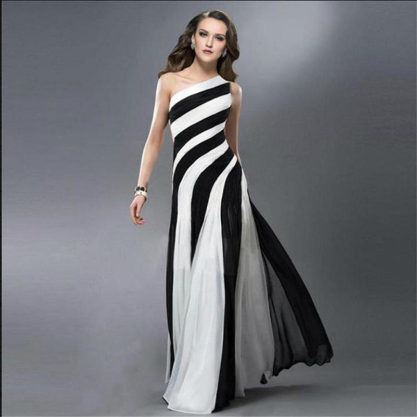 2016 Prom Dresses Striped Zebra Black And White Cross Back One
