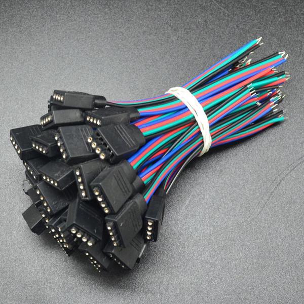 100 stücke 10mm breite 4 pin lötfreie led streifen kabel verlängerungskabel stecker beleuchtung zubehör für smd 5050 rgb freies verschiffen