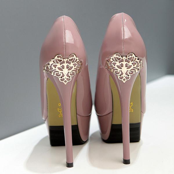 süper yüksek topuklu platformu oyma 14cm Yeni metal içi boş 39 kadınların ofis ayakkabı boyutu 34 pompalar