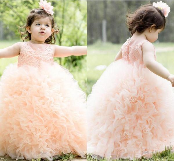 Ball Gown Flower Girls Dresses For Weddings Sheer Neck Organza Ruffles Girls Pageant Dress Floor Length Covered Button First Communion Gowns