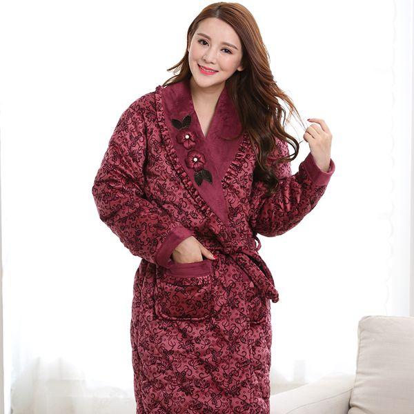 982cf1eb6f Wholesale- 2016 New Winter Nightgown Bath Robe Women Bathroom Robe Female Bathrobe  Quilted Pajamas Mujer Thick Spa Robe Shower Home wear
