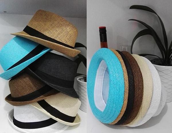 Men Women Straw Hats Soft Fedora Panama Hats Outdoor Stingy Brim Caps Colors Choose Free Shipping