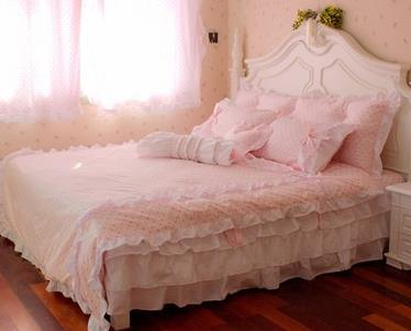 polk dots sweet home bedding kit cotton duvet cover sets princess bedding 4pcs set king size girls home bedskirt free shipping