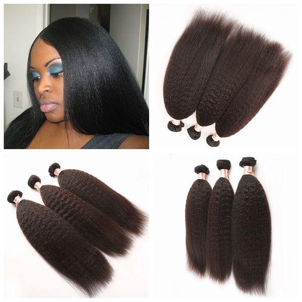 G-EASY negro natural brazillian rizado rizado cabello grueso Yaki pelo liso teje 8-30inch pelo humano sin procesar envío gratis