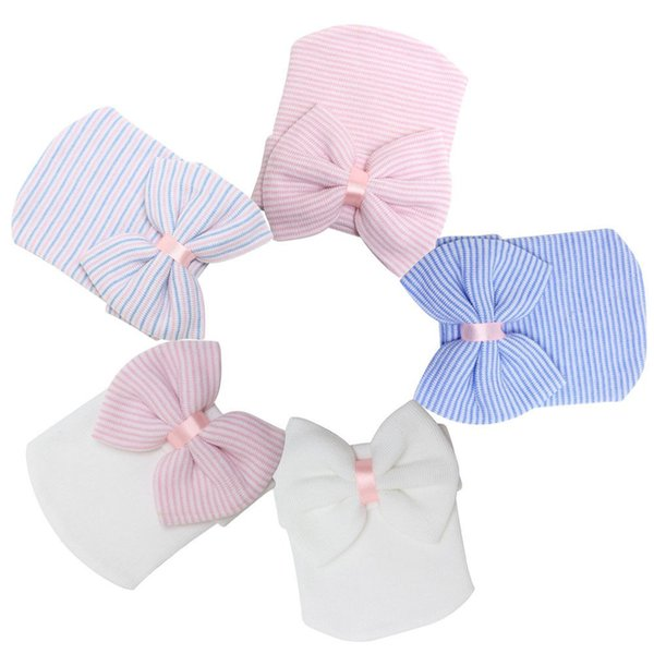 Newborn Baby Hat Infant Toddler Warm Winter Autumn Newborn Striped Caps Hospital Hats Soft Beanies Bow Hats 0-3M