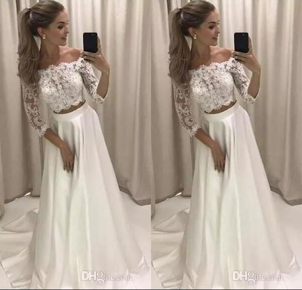Moderne 2018 Neu Entworfene Zwei Stücke Eine Linie Brautkleider Spitze Top Satinrock Lange Hochzeitsempfang Party Tragen Kleider Brautkleid
