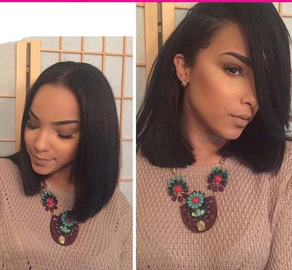 top popular Short Brazilian Hair Wigs For Black Women Natural Color Silk Straight Human Hair Wigs Bob Style Glueless Full Lace Wig With Baby Hair 2019