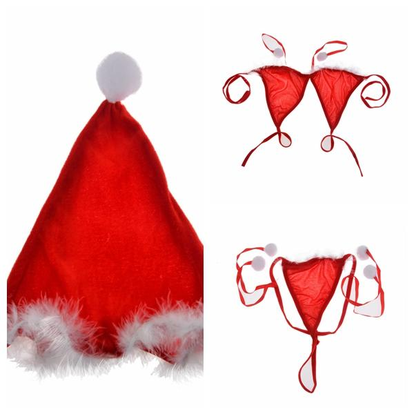 top popular Cosplay Stripper Clothes Rushed Bra Lingerie Ladies Sexy Santa Girl Christmas Costume Bikini Underwear 3Pcs Set Bras Panty Hat 2021