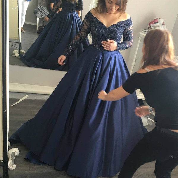 Elegant Navy Blue Long Sleeve Dresses Evening Wear Off The Shoulder Silk Satin Beaded Formal Prom Dresses Sexy Lace Evening Dresses Betra