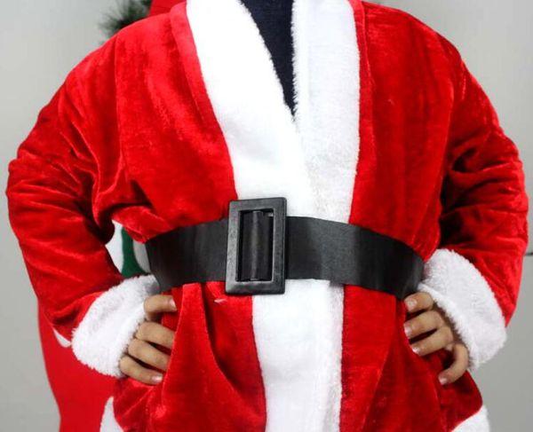 pleuche Santa dress clothes 3-5 years girls Children's Christmas costumes show 3 pcs one set (the braid hat dress belt) free shipping CT06