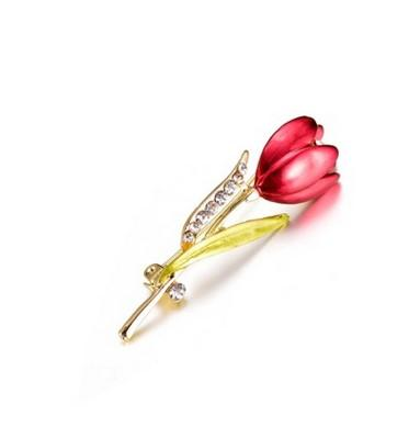 Christmas Suit Pins Antique Silver Gold Colour Crystals Brooches Brooch Elegant Design FLower Tulip Bouquet Rhinestone Brooch For Women