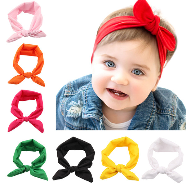 top popular Baby Girls Bunny Ear Headbands Bows Elastic Bowknot Headbands Children Hair Accessories Hairband Kids Turban Knot Headbands Headwear KHA08 2020