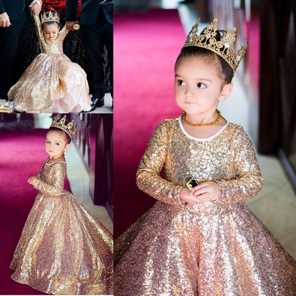 best selling 2018 Gold Sequined Flower Girl Dresses Princess Little Kid Pageant Party Sweep Train Ball Gown Long Sleeves Custom Made