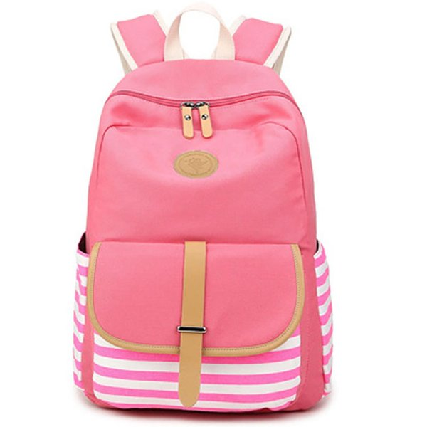 Women Backpack Korean Fashion Traveling Backpack Navy Style Strips Students Schoolbag Large Capacity Laptop Bag Pink Hot Sale