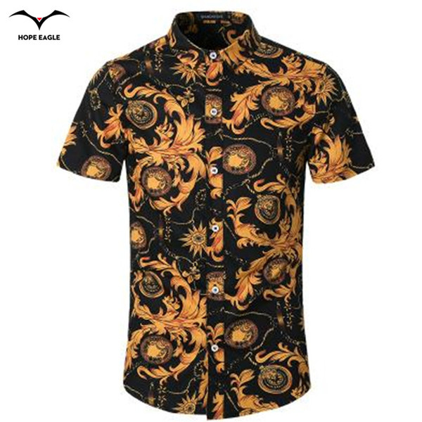 Wholesale-New Hot 2016 summer dress shirt men high-grade Korean cotton printed short-sleeved men's fashion Chinese style shirt collar