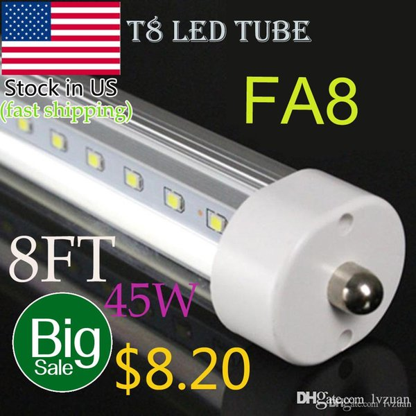 Big sale!! T8 8ft FA8 single pin LED tube light 45W clear cover 8 inch led lights 192pcs smd2835 CE FCC Approved best price factory directly