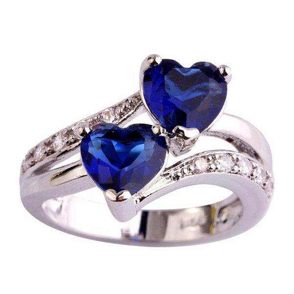 Art- und Weiseentwurfs-Herz-Form-Nizza Geschenk für Mädchen Größe 6 7 8 9 10 11 12 Quarz-Weiß-Silber überzogene Frauen-Ring