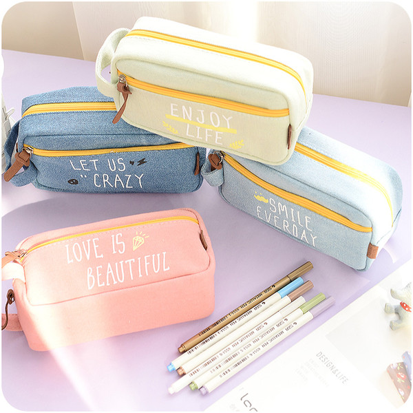 2017Large Capacity Canvas My Life Cute School Pencil Case For Girls Children Pen Bag Pouch Students Pencilcase School Supplies