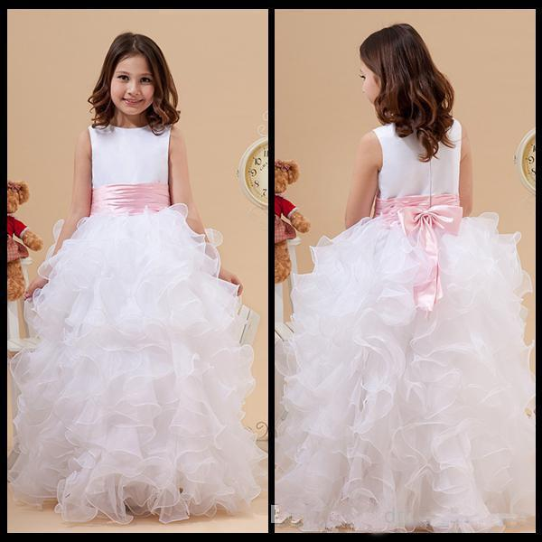 Princess White Jewel Neck Flower Girl Dresses Ruffles A-Line Satin and Organza Cheap Girl Dress for Wedding Party Gowns With Pink Bow