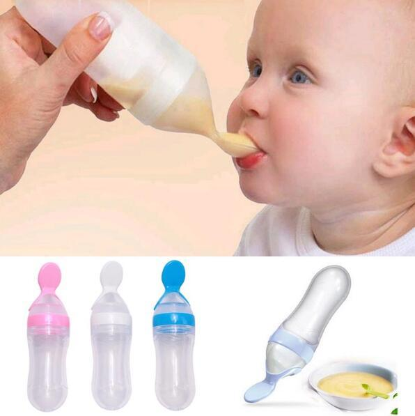 240ml Baby Squeeze Feeding Bottle With Spoon Food Rice Cereal Feeder IT