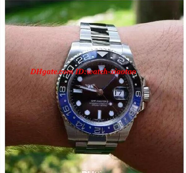 Luxury Ceramic Bezel GM/T II 40mm 116710 Stainless Steel Bracelet Blue Luminescent Dial Automatic Mens Watch Men's Watches