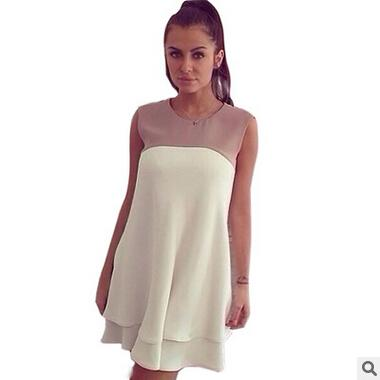 Fashion Summer Dresses For Womens Cute Mini Dress Sexy Sleeveless Chiffon White Dress Vestidos Party Prom Girl Casual Dress Clothes B20